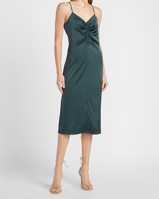 Express Satin Ruched Front Slip Dress
