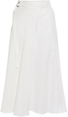 DKNY Belted Linen Midi Skirt