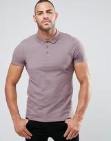 Asos Muscle Pique Polo Shirt In Violet Gray