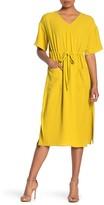 GOOD LUCK GEM Drawstring Waist Side Vent Midi Dress (Petite)