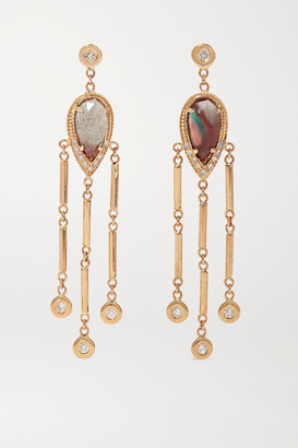 Jacquie Aiche 14-karat Gold, Sunstone And Diamond Earrings - one size
