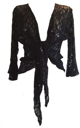 Dangerousfx Black Size 12/14 Sparkly Sequin Lace Front Tie Evening Bolero Shrug