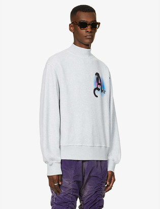 Palm Angels Funnel-neck slogan-print cotton-jersey sweatshirt