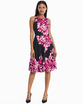 White House Black Market Floral Printed Scuba Fit-and-Flare Dress