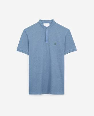 The Kooples Blue cotton insignia polo with hidden buttons