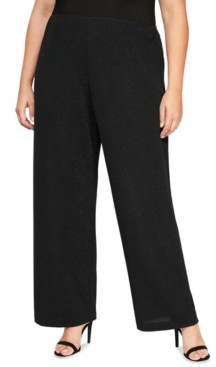Alex Evenings Plus Size Metallic-Knit Straight-Leg Pants