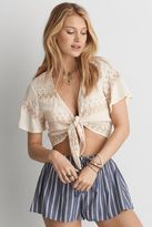 American Eagle Outfitters AE Eyelet Tie Front Top