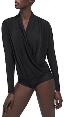 Wolford Shannon Surplice Long-Sleeve Bodysuit