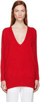 Rosetta Getty Red Cashmere V-Neck Sweater