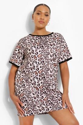 boohoo Plus Leopard Ringer T-shirt Dress