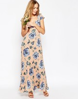 Asos WEDDING Lace Back Pleated Maxi Print Dress