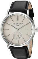 Ben Sherman Men's 'Big Portobello Social' Quartz Stainless Steel and Leather Watch, Color:Black (Model: WB032SA)