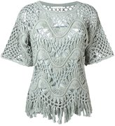 Chloé fringed macrame top - women - Silk/Cotton - S