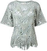 Chloé fringed macrame top - women - Silk/Cotton - XS