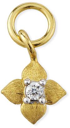 Jude Frances 18K Petite Brushed Diamond Flower Earring Charm, Single