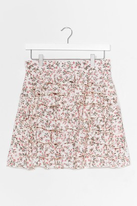 Nasty Gal Womens Ditsy Floral Tiered Ruffle Mini Skirt - White - 12