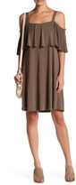 Lush Cold Shoulder Knit Ruffle Dress