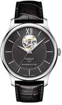 Tissot Tradition Powermatic 80 Open Heart Stainless Steel Leather Strap Watch