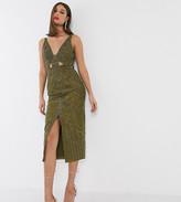 Asos Tall DESIGN Tall velvet cut out pencil midi dress with stud embellishment
