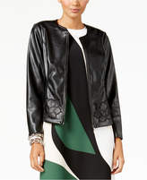 Alfani Faux-Leather Floral Applique Jacket, Created for Macy's