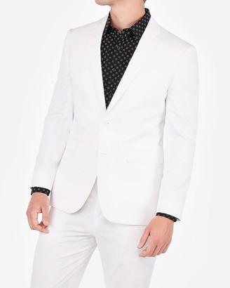 Express Slim White Cotton Blend Stretch Suit Jacket
