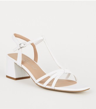 New Look Leather-Look Strappy Flared Block Heels