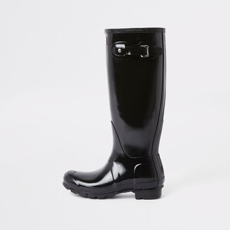 Hunter Wellies River Island Womens Hunter Black tall gloss wellington boots