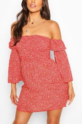 boohoo Petite Ditsy Floral Bardot Dress