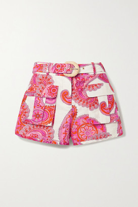 Zimmermann Peggy Paisley-print Linen And Cotton-blend Shorts - White