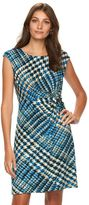 Dana Buchman Petite Knot-Front Printed Dress