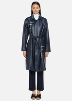 St. John Engineered Lined Lattice Leather Trench Coat