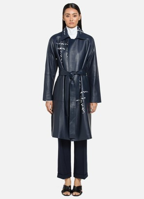 St. John Engineered Lined Lattice Leather Trench Coat