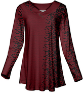 Azalea Burgundy & Black Speckle Button-Accent V-Neck Tunic - Plus Too
