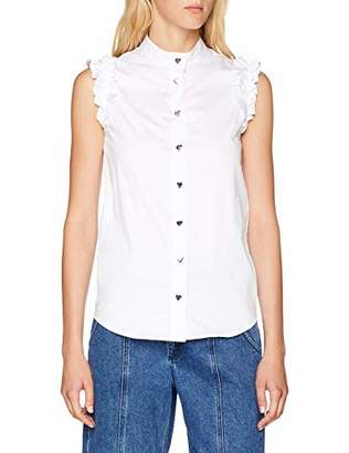 Love Moschino Women's Sleeveless Shirt with Frills and Hearth Shaped Buttons Blouse, Optical White A00, 14 (Size: )
