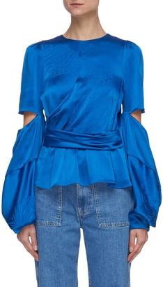 Hellessy 'Celeste' Tiger print cut-out sleeve wrap blouse