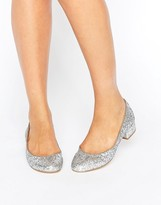 London Rebel Block Heel Glitter Ballerina