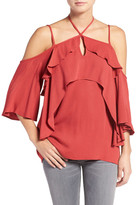 Ella Moss &Stella& Strappy Ruffle Cold Shoulder Top