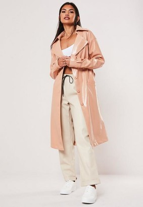 Missguided Nude Textured Vinyl Trench Coat