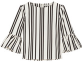Alice + Olivia Alice Olivia - Bernice Ruffle-trimmed Striped Cotton Top - Ecru