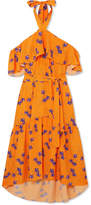 Borgo De Nor - Josephine Cold-shoulder Floral-print Crepe Maxi Dress - Orange