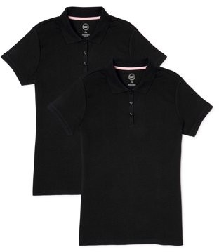 Wonder Nation Toddler Girls School Uniform Short Sleeve Interlock Polo Shirt, 2-Pack Value Bundle