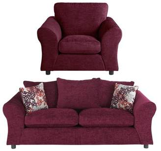Argos Home New Clara Fabric 3 Seater Sofa & Chair - Plum