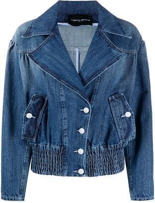 Frankie Morello wide lapel buttoned denim jacket