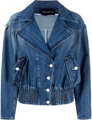 Frankie Morello Wide Lapel Buttoned Denim Jacket