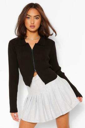 boohoo Zip Through Polo Collar Cardigan