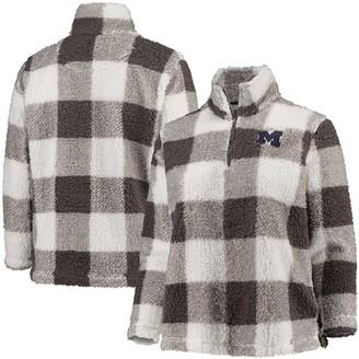 Women's Gray/Cream Michigan Wolverines Plus Size Plaid Sherpa Quarter-Zip Pullover Jacket