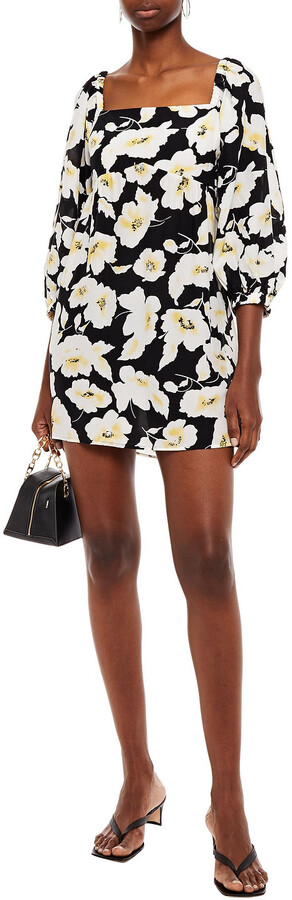 Thumbnail for your product : BA&SH Fire Gathered Floral-print Crepe De Chine Mini Dress