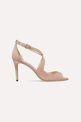 Jimmy Choo Emily 85 Suede Sandals - Neutral