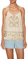 Love Sam Brittney Embroidered Tassel Tie Top