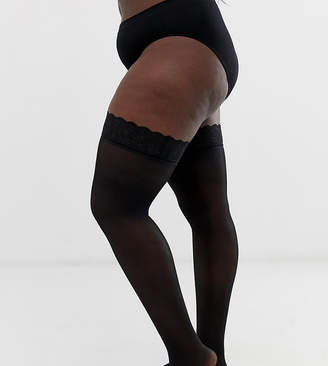 Figleaves Curve 15 denier lace top stockings in black